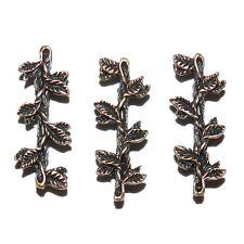 M390L2 Antiqued Copper 30mm Leaf Branch 7-Strand Spacer Bar Metal Beads 10/pkg
