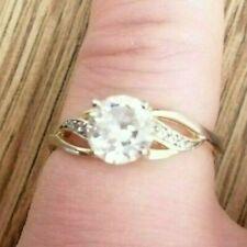 Silver 925 Stamp Plastic Diamante Ring Size L Solitaire Design
