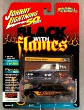 JOHNNY LIGHTNING 1960 FORD COUNTRY SQUIRE BLACK WITH FLAMES STREET FREAKS.
