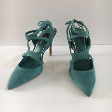 White House Black Market Blue Green Suede 'Marlow' Strappy Shoes Heels Size 7.5