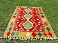 Turkish Vintage Antique Colorful Cappadocia Kilim Ethnical Weave Wool Rug 4x6ft
