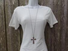 Chain Love Gift Women Multi Stone Silver Cross Pendant Necklace Inch Fashion
