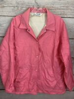 Vintage Blair WARREN PA Pink Windbreaker Jacket Lined Snap Front Women's Size L