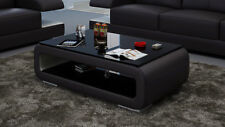 Leather Coffee Table Modern Glass Design Living Room CT9010s