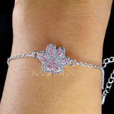 Pink w Swarovski Crystal Dog KITTY CAT Kitten Pawprint Paw Print Animal Bracelet