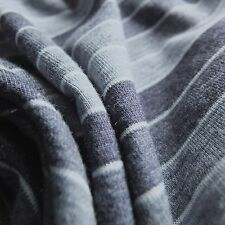 Blue Marl Denim Stripe Stretch Single Jersey Knitted Fabric - sold by the metre