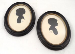 2 Signed Framed 1967 Folk Art Prim Twin Little Girls Cameo Portrait Pictures Art