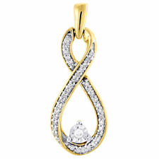 10K Yellow Gold Genuine Round Diamond Infinity Pendant Women's Charm 0.16 CT.