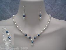 Coloured Pearl Diamante Jewelry Set Bride Bridesmaid Wedding Vintage Style 2DR