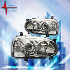 93-98 VW Golf MK3 95-99 Cabrio Chrome Projector Headlight LED DRL Head Lamp PAIR