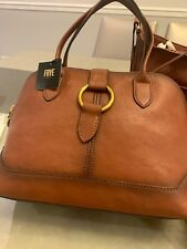 $398 Frye Ring Dome Satchel Shoulder Bag Tanned Leather COGNAC~Gorgeous & NWT!