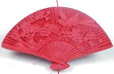 Red Cinnabar Fan Pendant Bead 34x60mm