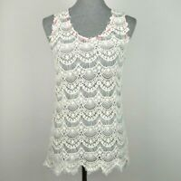 Miss Me Womens size L Ivory Crochet Lace Sheer Knit Sleeveless Top Tank