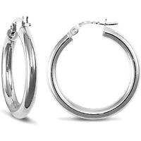 Jewelco London Ladies 9ct White Gold Polished 3mm Hoop Earrings 25mm