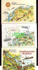 118445 6 Landkarten AK Insel Rügen Usedom Poel Nienhagen Greifswald