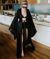 Oversize Lady Real Silk Kimono Loose Dress Beach Coat Sleepwear Occident Robe sz