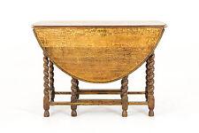 B559 Large Antique Scottish Barley Twist Oval Oak Gateleg, Drop Leaf Table