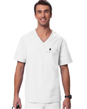 {XL} Orange Standard Newport Men's V-Neck Top -WHITE