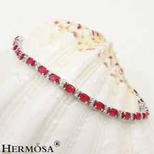 "Genuine AAA White Topaz Cherry Ruby 925 Sterling Silver Female Bracelet 8"""