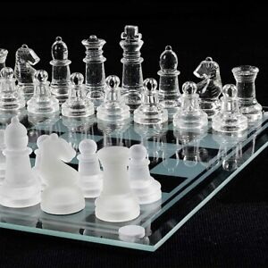 Large Chess Glass Set International Chessboard Gift Pieces Travel Board UK