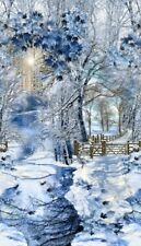 WINTER SNOWFALL SCENIC FABRIC PANEL