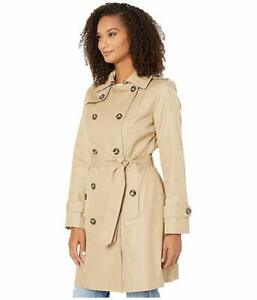 London Fog Double-Breasted Water Resistant Hooded Trench Coat Large Khaki