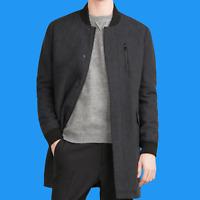 ZARA Dark Grey Wool Long Bomber Jacket Coat Man Authentic BNWT S M L 4391/450