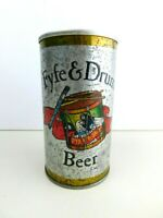 Vintage Fyfe and Drum Beer Can Embossed Letters Top opened