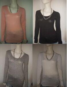 Damen Long-Shirt Rundhals/Unter-Shirt  in vier Farben Einheitsgrösse 36/38/40/42