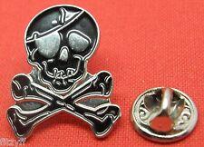 Skull & Crossbones Lapel Hat Tie Cap Pin Badge Brooch Cross Bones Pirate
