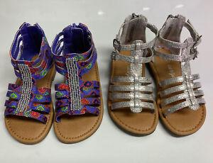EUC Toddler girl size 6 sandal lot Cat & Jack Gladiator 2 Pair