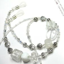 Clear White Quartz Stone Sunglass Glasses Spectacles Eyeglass Holder Cord Chain