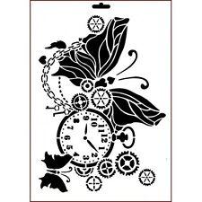 L'immaginazione artigianato il tempo passa A4 Stencil Cogs Gears Farfalla Orologio Steampunk