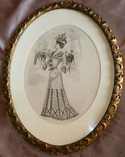 Cadre ovale bois & stuc doré début XXème pour gravure gouache aquarelle miroir