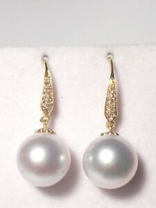 11.5mm white South Sea pearl dangle earrings, diamonds, solid  14k yellow gold.
