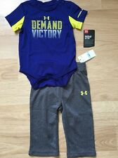 NEW!! Under Armour Outfit Baby Toddler Size 6-9 Months Blue Gray Yellow