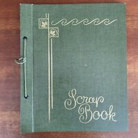 Vintage Green Scrapbook- Used Mother of Vietnam Vet - w/ papers