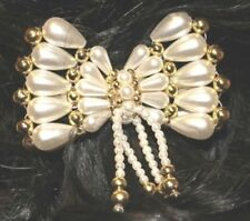 Haarschmuck Perlen-Applikation Schleife mit Spange weiß gold NEU