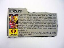 GI JOE CRYSTAL BALL FILE CARD Vintage Action Figure GOOD SHAPE 1987