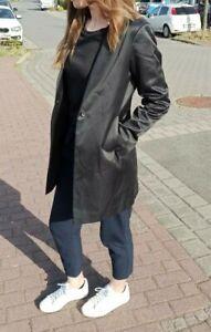 Jil Sander Longblazer Mantel Gr. 36 S Schwarz glänzend Designer Jacke mit Seide