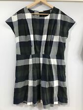 GORMAN Sz 10 Cotton Check Dress In Dark Green Greys Navy White