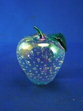 Solid Art Glass Apple by GES Glass Eye Studio Paperweight Iridescent Clear 97