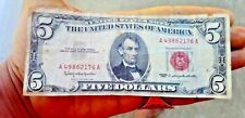 $5 1963 FIVE Dollar Red Seal Vintage US Legal Tender Note Currency Money Bill