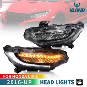 VLAND LED Headlights For Honda Civic 10th 2016-21 Sedan/Coupe/Hatchback Pair