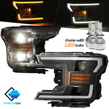 Black Projector Headlights Headlamps LED Switchback Turn Signal For 18-19 F-150