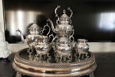 Antique English 5 Pieces Silver Plate On Copper Tea Or Coffee Set