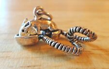 Sterling Silver 3D 10x23x13mm Mouse Rat on a Phone Receiver Charm