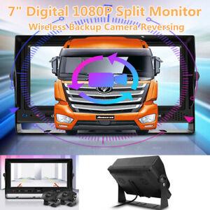 "7"" HUD Digital Wireless Backup Camera Reversing 1080P Split Monitor Record DVR"