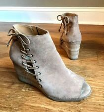 16b022253c0 Lucky Brand Womens Taupe Suede Lace Up Peep Toe Wedge Ankle Boots 10 Jaevin