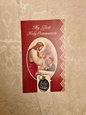 """NEW Prayer Holy Card & Medal """"MY FIRST HOLY COMMUNION""""  for BOY New in Pkg."""
